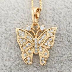 """Кулон Xuping Jewelry """"Бабочка"""", медицинское золото, позолота 18К. А/В 1863"""
