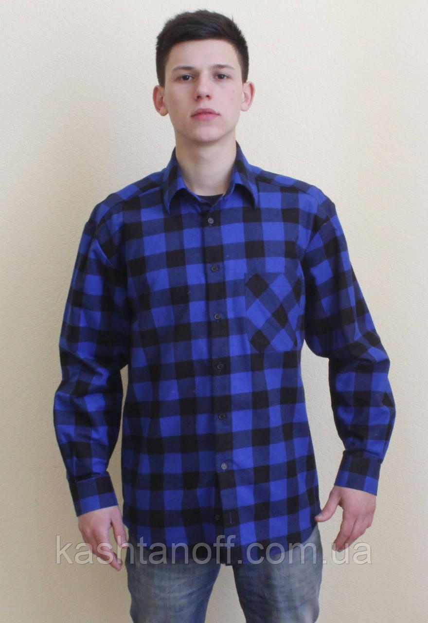 Фланелевая рубашка синяя в клетку