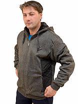 Кофта спортивная мужская на меху с капюшоном и со вставкой плащевки, фото 2