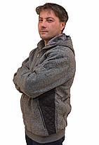Кофта спортивна чоловіча на хутрі з капюшоном і зі вставкою плащової тканини, фото 3