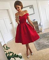 Платье женское с пышной юбкой, открытыми плечами, длина миди, нарядное, модное, красное