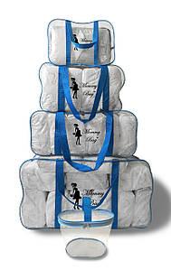 Набор из 4+1 прозрачных сумок в роддом Mommy Bag - S,M,L,XL - Синие