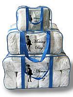 Набор из 3 прозрачных сумок в роддом Mommy Bag - S,L,XL - Синие