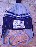 Вязанная весенняя шапочка для мальчика с завязками,, фото 2