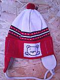 Вязанная весенняя шапочка для мальчика с завязками,, фото 4