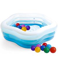 """Надувной детский бассейн """"Морская звезда"""" с шариками 30 шт."""
