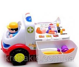 """Игровой набор доктора """"Машинка скорой помощи"""" 836 (ездит, муз.,свет, звук, фигурки), размер 20-12,5-12 см, фото 3"""