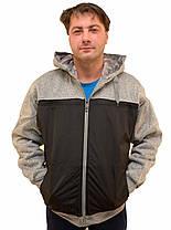 Кофта спортивная мужская на меху с капюшоном - трикотаж с плащевкой, фото 2