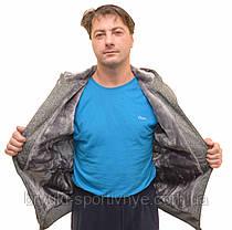 Кофта спортивная мужская на меху с капюшоном - трикотаж с плащевкой, фото 3