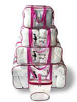 Набор из 4+1 прозрачных сумок в роддом Mommy Bag - S,M,L,XL - Розовые