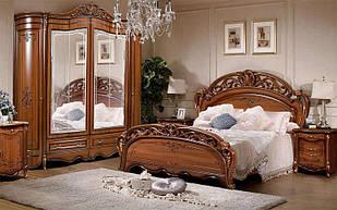 Спальня комплект з ДСП/МДФ Алегро 180 з 6-ти дверною шафою горіх  Слониммебель