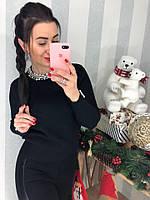 Женский красивый свитер украшен жемчужинами , фото 1