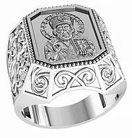 Печатка серебряная СВЯТИТЕЛЬ НИКОЛАЙ ЧУДОТВОРЕЦ 700 690