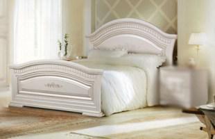 Ліжко двоспальне з ДСП/МДФ в спальню з м'якою спінкой180 з МДФ  Венера ясен  Слониммебель