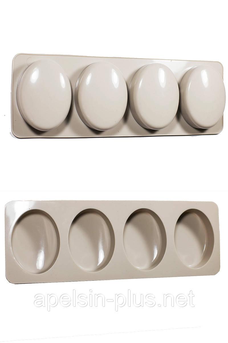 Силиконовая форма Овал для десертов на 4 ячейки 7 см 5,3 см 2 см