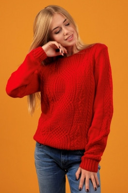 вязаный свитер женский красный 13171 купить недорого в интернет