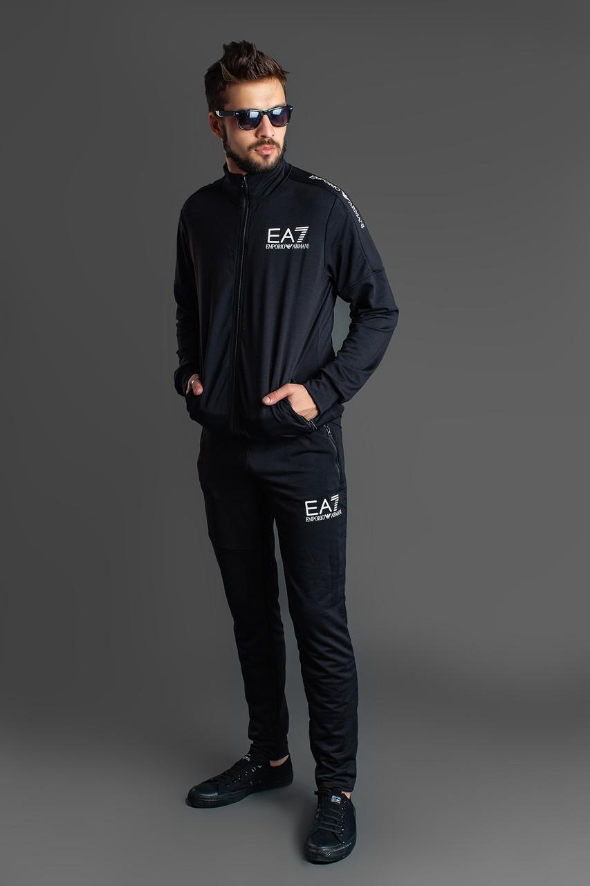 Стильный мужской осенний спортивный костюм: штаны и кофта с воротом стойкой, реплика Армани
