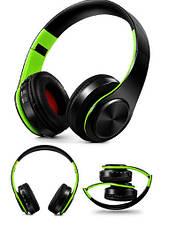 """Беспроводные складные bluetooth стерео наушники fm-радио micro SD """"LPT-660"""" черно-зеленые"""