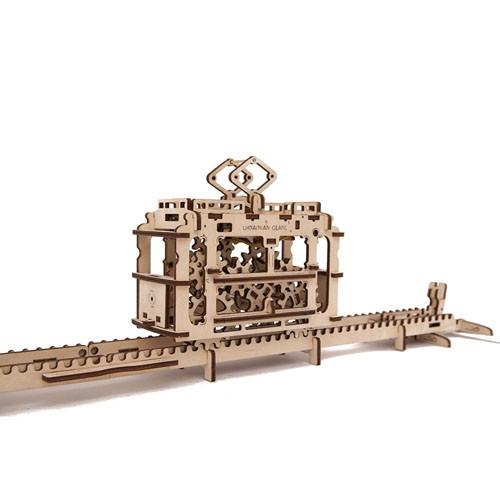 Механічний 3D-пазл UGEARS Трамвайчик, конструктор для розвитку дітей