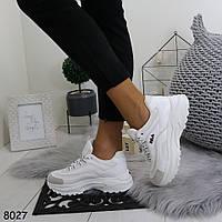 Женские демисезонные белые кроссовки на невысокой танкетке и платформе, А  8027 6db29c551c0