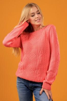 Модный свитер вязаный женский (коралл) 13170