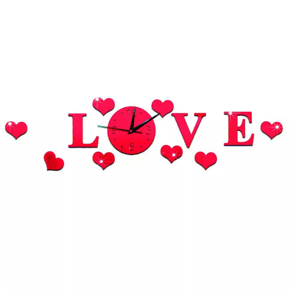 Часы зеркальные настенные 3D LOVE красные, часы наклейки с сердечками