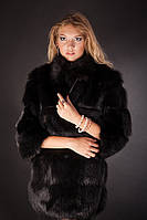 Шуба жилет из черной лисы, рукава 3/4 съемные, fox fur coat&vest in black with 3/4 length detachable sleeves