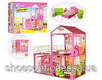 Домик вилла для кукол Барби с мебелью 82см, 2 этажа, 3 комнаты, терасса