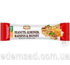 """Зерновий Батончик з арахісом, мигдалем, родзинками і медом """"MagNut"""", 35г"""