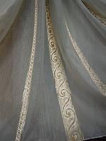 Тюль Сюзанна золото с парчёвыми вставками