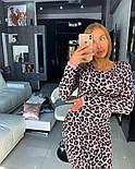 Женское вязаное прямое платье с леопардовым принтом (4 цвета), фото 6