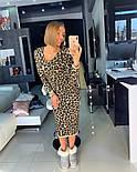Женское вязаное прямое платье с леопардовым принтом (4 цвета), фото 4