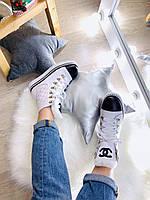 Модные женские кожаные ботинки Chanel зима (реплика), фото 1