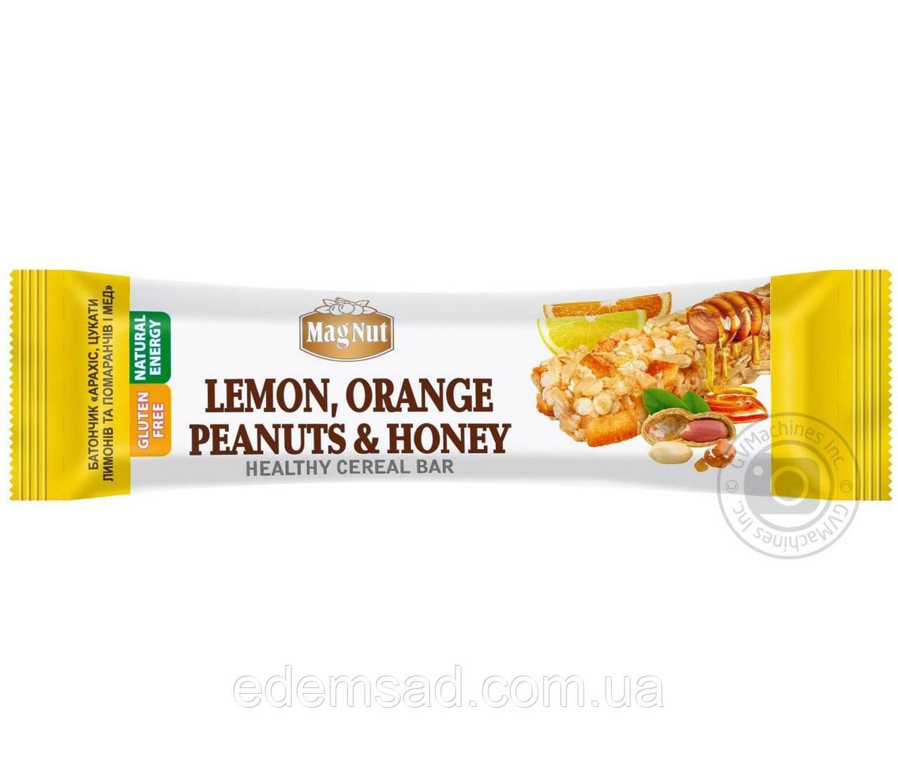 """Батончик зерновой с арахисом, цукатами лимонов и апельсинов и медом """"MagNut"""", 35г"""