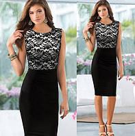 Женское вечернее черное платье с гипюровой вставкой