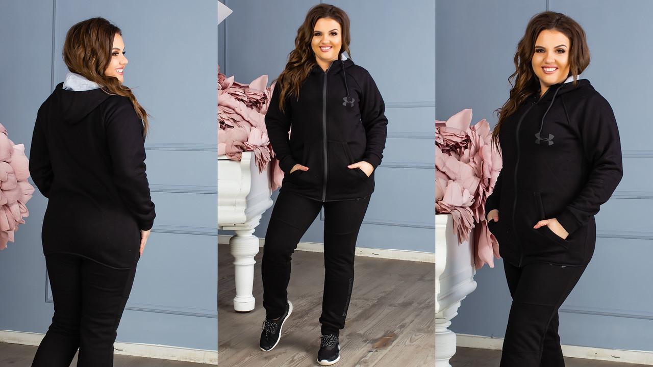 Стильный женский зимний теплый спортивный костюм: штаны и кофта с капюшоном, реплика Under Armour, батал