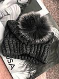 Графитовая шапка на флисовой подкладке теплая с помпоном, фото 3