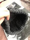 Графитовая шапка на флисовой подкладке теплая с помпоном, фото 4