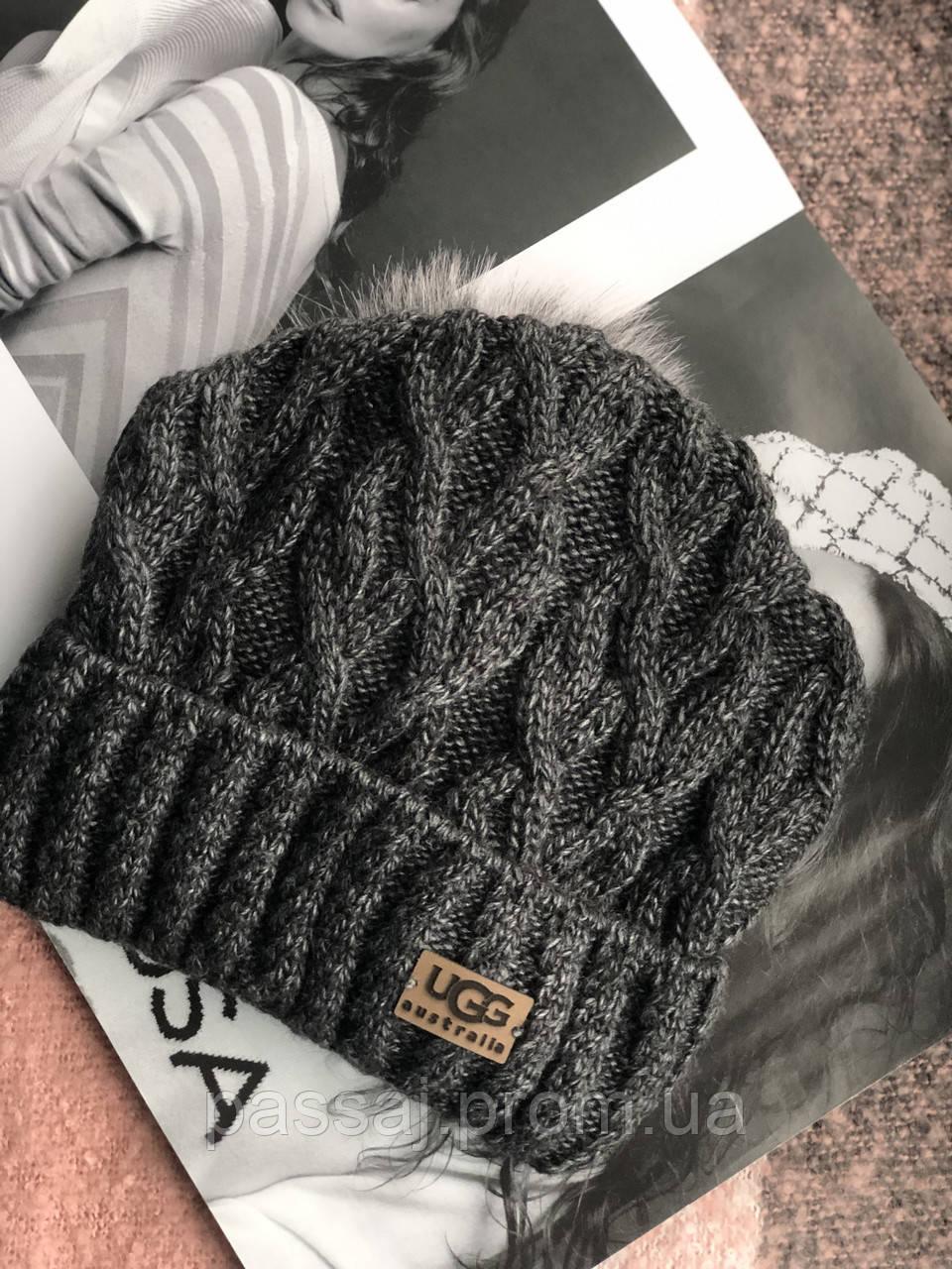 Графитовая шапка на флисовой подкладке теплая с помпоном