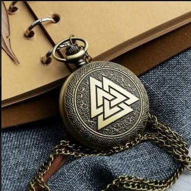 Карманные мужские часы на цепочке оберег викингов, фото 2