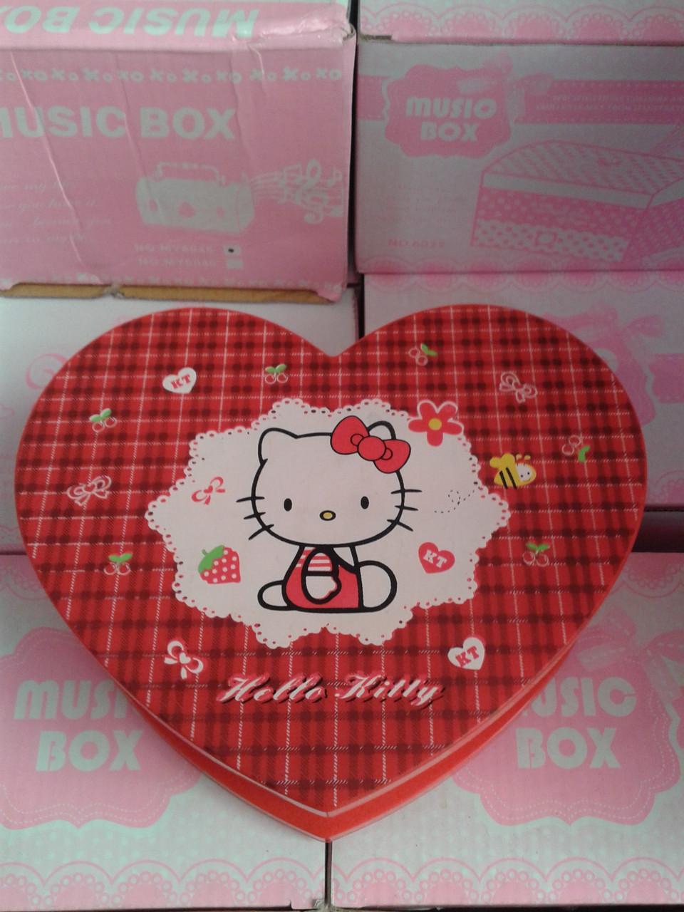 Музыкальная шкатулка сердце Hello kitty 6031