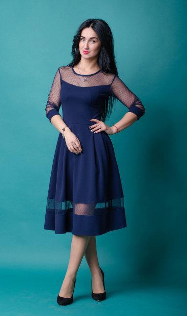 Красивое молодежное платье с сеткой (3 цвета)
