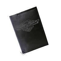 """Чёрная кожаная обложка-тревел """"Harley Davidson"""", графит"""