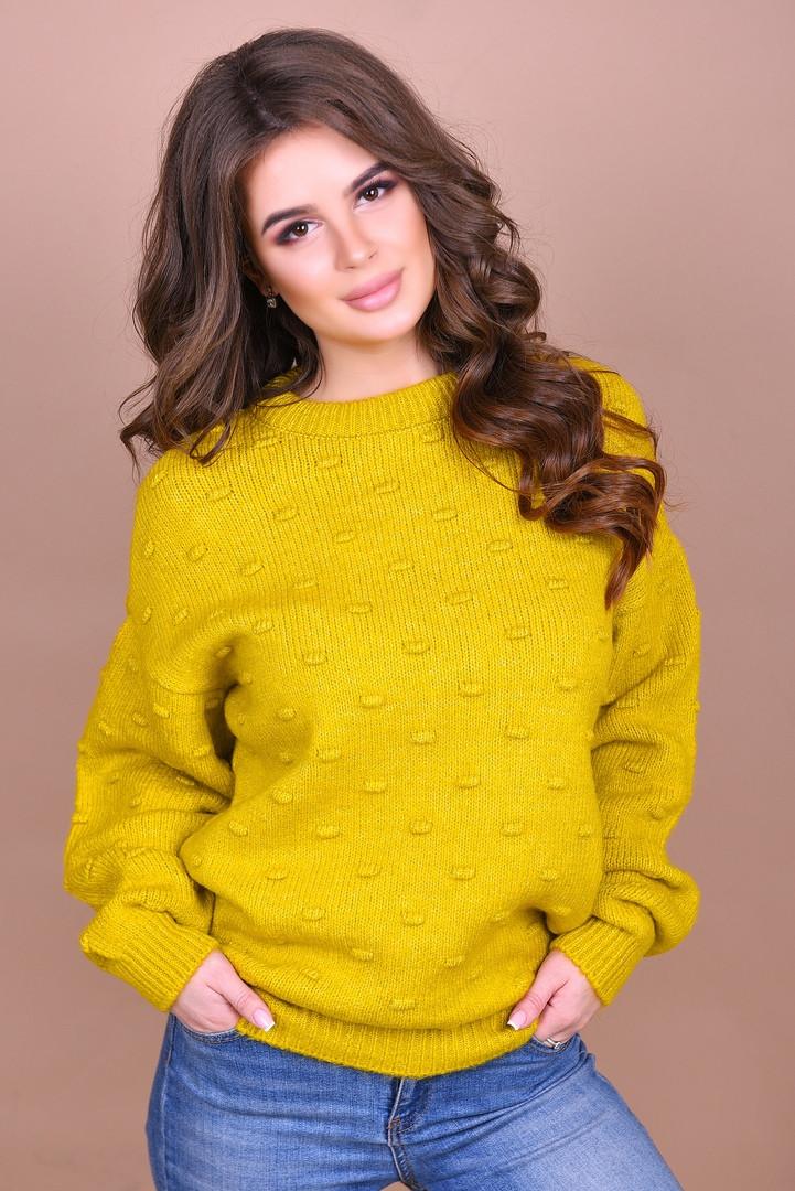 вязаный свитер с шишечками в расцветках турция 1402 купить по