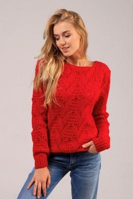 Яркий свитер женский с лентой  сзади (красный) 13152