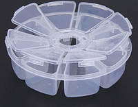 Органайзер для рукоделия 8 ячеек, цветок, таблетница, белый, диаметр - 10 см (круглый)