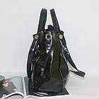 Лаковая классическая вместительная чорная сумка  Лакова класична вмістка чорна сумка , фото 2