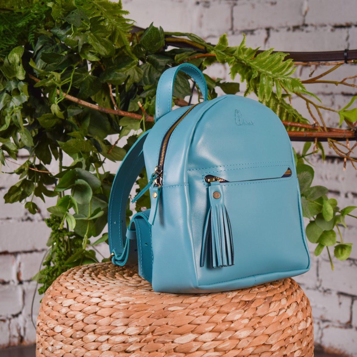 """Кожаный рюкзак """"Grace"""", цвет голубой"""