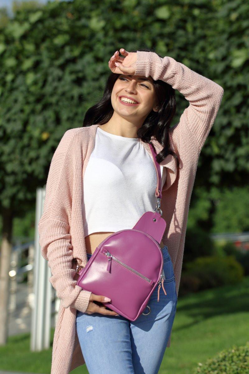 "Кожаный рюкзак ""Natalie"", цвет пурпурный"
