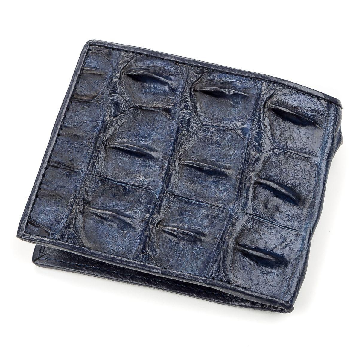 Портмоне CROCODILE из натуральной кожи крокодила, Синее